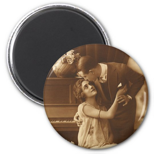 Vintage Lovers,  Love Romance Romantic Music 2 Inch Round Magnet