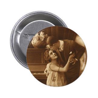 Vintage Lovers,  Love Romance Romantic Music Pinback Button