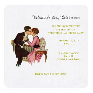 Vintage Lovers Valentine's Day Invitation