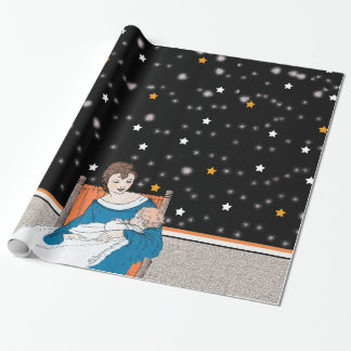 Vintage Loving Mother Baby Stars Mother's Day Gift Wrap Paper