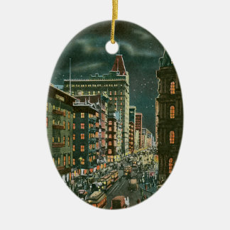 Vintage Lower Broadway by Night Ceramic Ornament