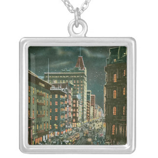 Vintage Lower Broadway by Night Pendant