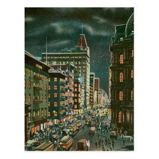 Vintage Lower Broadway by Night Postcard