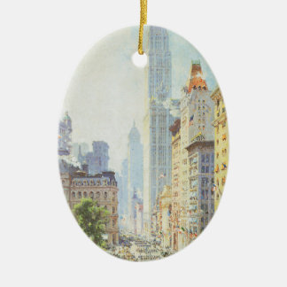 Vintage Lower Broadway in Wartime Ceramic Ornament