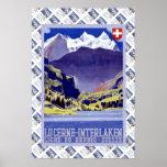 Vintage Lucerna ferroviaria suiza Interlaken Bruni Poster