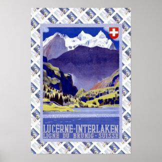 Vintage Lucerna ferroviaria suiza Interlaken Bruni Póster