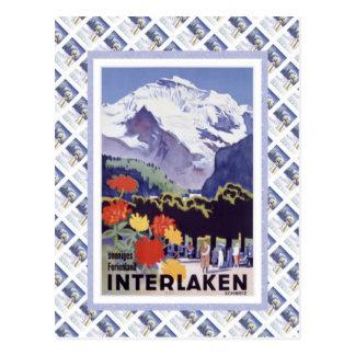 Vintage Lucerna ferroviaria suiza Interlaken Bruni Postal