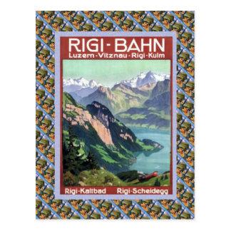 Vintage Lucerna ferroviaria suiza Rigi Bahn Tarjeta Postal