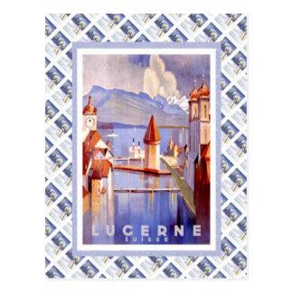 Vintage Lucerna ferroviaria suiza Suisse Tarjeta Postal