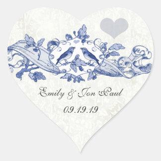 Vintage Lucky Bluebirds Navy Wedding Stickers
