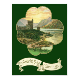 Vintage Lucky Gold Shamrock with an Irish Castle Card