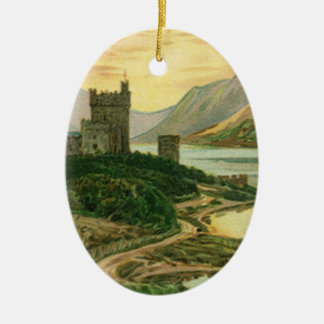 Vintage Lucky Gold Shamrock with an Irish Castle Ceramic Ornament