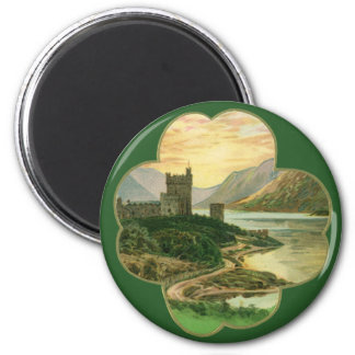 Vintage Lucky Gold Shamrock with an Irish Castle Magnet