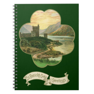 Vintage Lucky Gold Shamrock with an Irish Castle Notebook