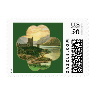 Vintage Lucky Gold Shamrock with an Irish Castle Postage