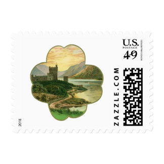 Vintage Lucky Gold Shamrock with an Irish Castle Stamp