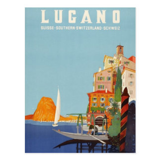Vintage Lugano Italian Resort Switzerland Postcard