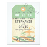 Vintage Luggage Tag Destination Wedding Save Date Card
