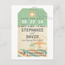 Vintage Luggage Tag Destination Wedding Save Date Save The Date