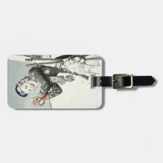 Vintage Luggage Tag with Winter Skiing Print