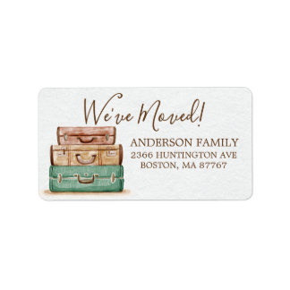 Vintage Luggage | We've Moved Address Label