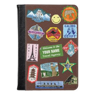 Vintage Luggage World Travel Suitcase Sticker Name Kindle Case