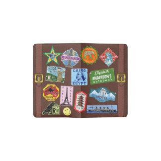 Vintage Luggage World Travel Suitcase Sticker Name Pocket Moleskine Notebook