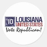 Vintage Luisiana del republicano del voto en 2010 Pegatinas Redondas