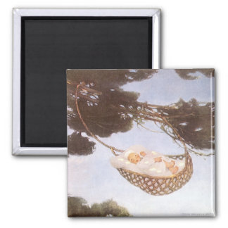 Vintage Lullaby, Rock Bye Baby Jesse Willcox Smith 2 Inch Square Magnet