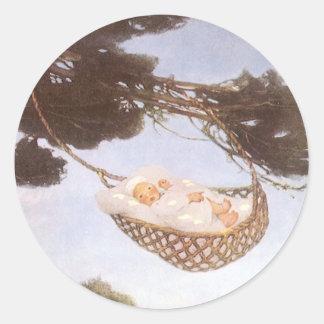 Vintage Lullaby, Rock Bye Baby Jesse Willcox Smith Classic Round Sticker