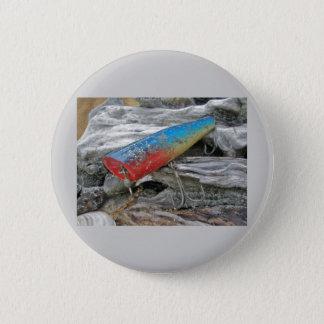 Vintage Lure Blue Streak Tackle Co Waltham MA Button