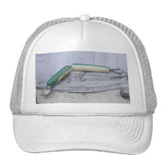 Vintage Lure Green Jointed Eel Hat