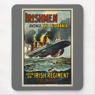 Vintage Lusitania Poster  (Irish Recruiting) Mouse Pad