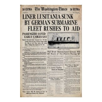 Vintage Lusitania Sinking Newspaper Headline