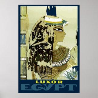 Vintage Luxor Egypt Ruins Travel Poster