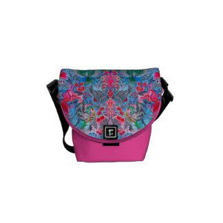 Vintage luxury floral garden blue bird lux pattern courier bag