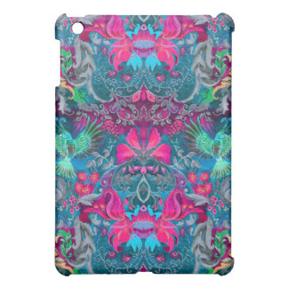 Vintage luxury floral garden blue bird lux pattern iPad mini case