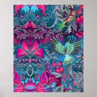 Vintage luxury floral garden blue bird lux pattern poster