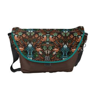 Vintage luxury floral garden gold bird lux pattern messenger bag