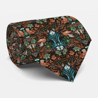 Vintage luxury floral garden gold bird lux pattern tie