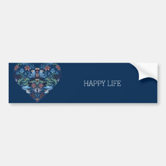 Vintage luxury Heart with blue birds happy pattern Bumper Sticker