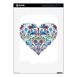 Vintage luxury Heart with blue birds happy pattern Decal For iPad 3