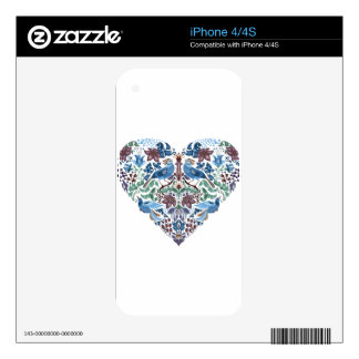 Vintage luxury Heart with blue birds happy pattern iPhone 4S Decals