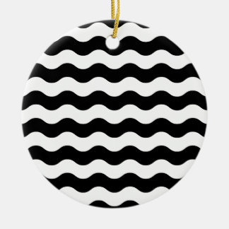Vintage luxury waves blackwhite ceramic ornament
