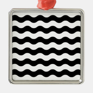 Vintage luxury waves blackwhite metal ornament