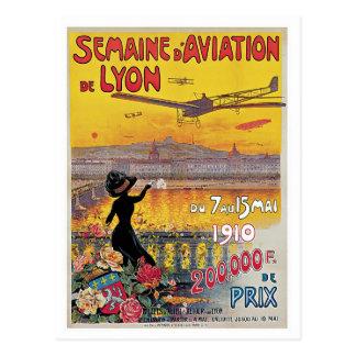 Vintage Lyon Aviation Week Travel Ad Postcard