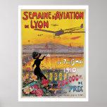 Vintage Lyon Aviation Week Travel Ad Poster