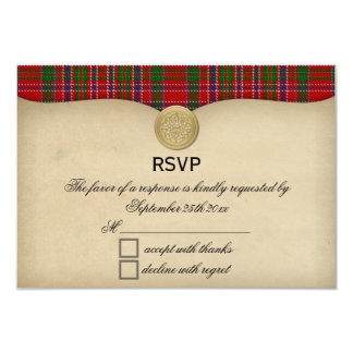 Vintage MacAlister Clan Tartan Plaid Wedding RSVP Card