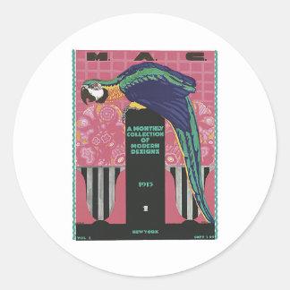 VIntage Macaw Classic Round Sticker