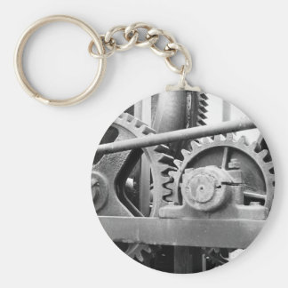 Vintage machinery basic round button keychain